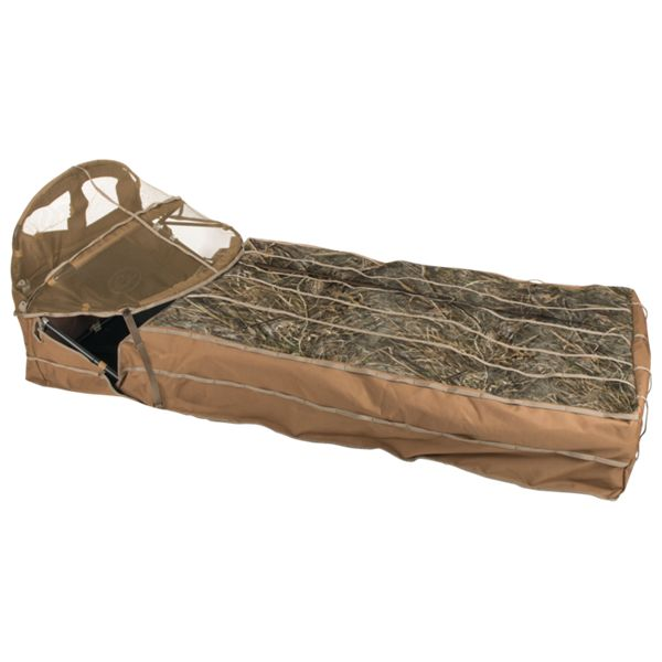 Drake Waterfowl Ghillie Layout Blind with Spring-Loaded Bonnet - Mossy Oak Shadow Grass Habitat