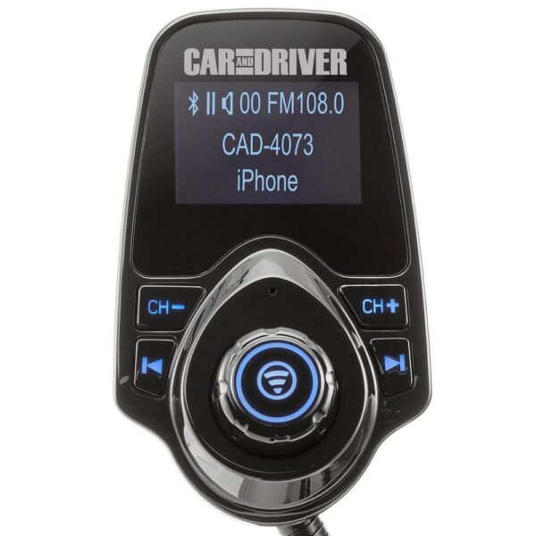 CAR AND DRIVER Bluetooth FM Transmitter with Dual USB Port, Hands Free Calling, & Adjustable Neck, Black