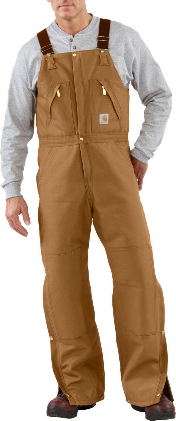 Carhartt Men's Zip-To-Waist Quilt Lined Duck Bibs, 32 Waist 30 Length, Brown
