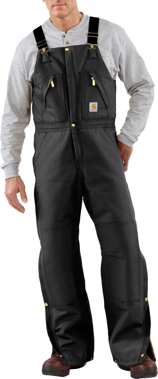 Carhartt Men's Zip-To-Waist Quilt Lined Duck Bibs, 36 Waist 32 Length, Black