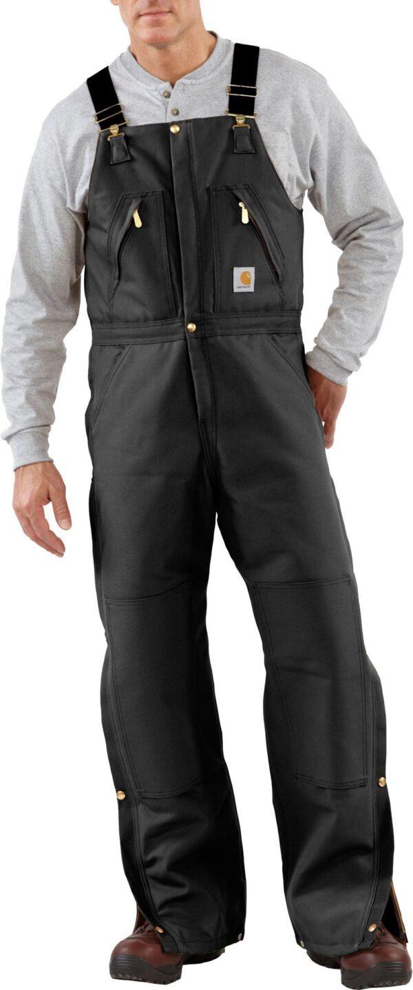 Carhartt Men's Zip-To-Waist Quilt Lined Duck Bibs, 40 Waist 30 Length, Black