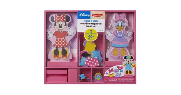 Melissa & Doug Disney Minnie Mouse and Daisy Duck Magnetic Dress-Up Wooden Doll (Pretend Play Set, Display Stands, Great Gift for Girls and Boys -...
