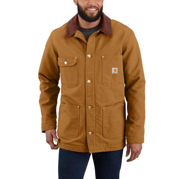 Men's Small Brown Cotton Firm Duck Chore Coat, Carhartt Brown