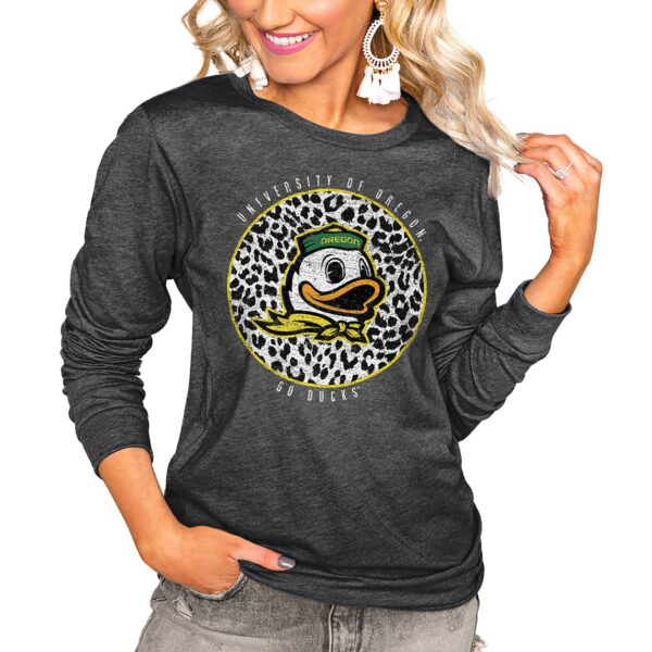 Oregon Ducks Women's Charcoal Call the Shots Luxe Boyfriend Long Sleeve T-Shirt